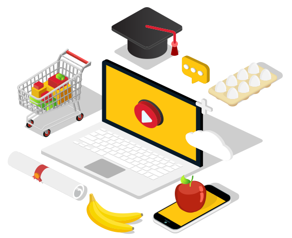 Supermarket Online Training Isometric Illustration
