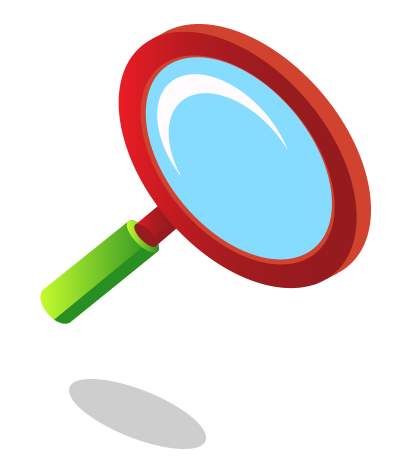Red and Green magnifying glass symbolizes to search for information